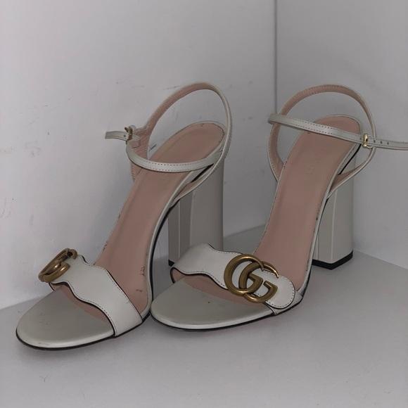Gucci Marmont Leather Block Heel Sandal